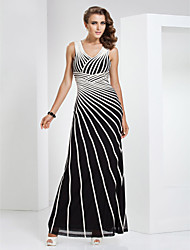 cheap -Sheath / Column V Neck Floor Length Tulle / Stretch Satin Elegant / Color Block Formal Evening / Holiday Dress 2020 with Criss Cross