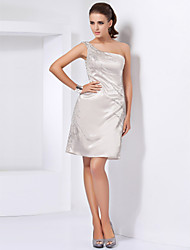 cheap -Sheath / Column Homecoming Cocktail Party Dress One Shoulder Sleeveless Short / Mini Stretch Satin with Beading 2020
