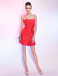 cheap -Sheath / Column Spaghetti Straps Short / Mini Chiffon Cocktail Party Dress with Ruched Ruffles Side Draping by