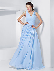 cheap -Ball Gown Elegant Prom Formal Evening Military Ball Dress V Neck Sleeveless Floor Length Chiffon with Criss Cross Beading 2021