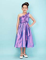 cheap -Princess / A-Line One Shoulder Tea Length Taffeta Junior Bridesmaid Dress with Sash / Ribbon / Bow(s) / Flower / Spring / Summer / Fall / Apple / Hourglass