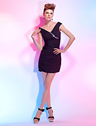 cheap -Sheath / Column Little Black Dress Cocktail Party Dress V Neck Off Shoulder Short Sleeve Short / Mini Chiffon with Ruched Crystals Side Draping 2021