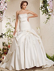 cheap -Ball Gown Wedding Dresses Strapless Chapel Train Satin Sleeveless with 2021