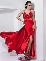 cheap -Sheath / Column Open Back Prom Formal Evening Dress V Neck Sleeveless Sweep / Brush Train Stretch Satin with Crystals Beading Side Draping 2020 / Split Front