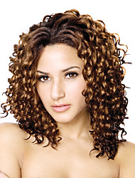 cheap -Lace Front Long High Quality Synthetic Curly Brown Hair Wig