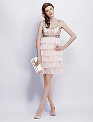 cheap -Ball Gown Square Neck Short / Mini Chiffon / Tulle / Charmeuse Cocktail Party Dress with Beading / Pleats by TS Couture®