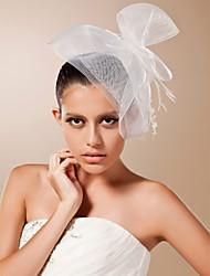 cheap -One-tier Cut Edge Wedding Veil Blusher Veils / Birdcage Veils with Feather Tulle