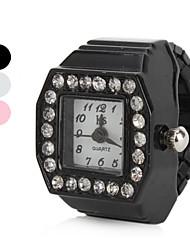 Недорогие -Жен. Часы-кольцо Diamond Watch Квадратные часы Японский Кварцевый Черный / Белый / Розовый Имитация Алмазный Дамы Блестящие - Белый Черный Розовый Один год Срок службы батареи / SSUO SR626SW