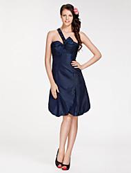 cheap -Princess / A-Line One Shoulder / Sweetheart Neckline Knee Length Taffeta Bridesmaid Dress with Bow(s) / Beading / Side Draping