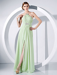cheap -Ball Gown Elegant Open Back Formal Evening Dress Spaghetti Strap Floor Length Chiffon with Crystals Draping Split Front 2021