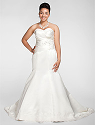 cheap -Mermaid / Trumpet Wedding Dresses Sweetheart Neckline Court Train Satin Strapless Formal Sparkle & Shine Plus Size with Beading Appliques Criss-Cross 2021