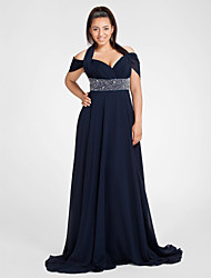 cheap -Sheath / Column Halter Neck Sweep / Brush Train Chiffon Open Back / Elegant Prom / Formal Evening Dress 2020 with Beading / Ruched