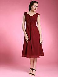 cheap -Clearance!Sheath/ Column V-neck Tea-length Chiffon Matte Satin Mother of the Bride Dress