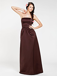 cheap -Sheath / Column Strapless Floor Length Satin Bridesmaid Dress with Draping