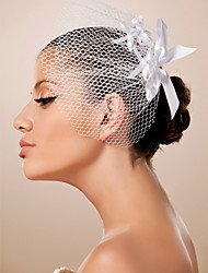 cheap -One-tier Cut Edge Wedding Veil Blusher Veils with Ribbon Tie Tulle / Birdcage
