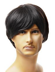 Недорогие -шапки моды для мужчин в короткие черные прямые волосы синтетический парик