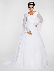 cheap -Ball Gown / A-Line V Neck Court Train Chiffon Long Sleeve Formal Plus Size / Illusion Sleeve Wedding Dresses with Beading / Appliques 2020 / Bell Sleeve