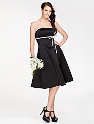 cheap -Princess / A-Line Strapless Knee Length Satin Bridesmaid Dress with Sash / Ribbon