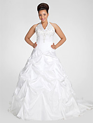cheap -Ball Gown Wedding Dresses V Neck Court Train Taffeta Regular Straps Glamorous Vintage Plus Size Backless with Pick Up Skirt Beading Embroidery 2020