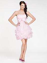 cheap -Ball Gown / A-Line Strapless Short / Mini Organza Bridesmaid Dress with Pick Up Skirt / Bow(s) / Criss Cross