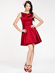 cheap -Princess / A-Line Bateau Neck Short / Mini Satin Bridesmaid Dress with Sash / Ribbon / Open Back