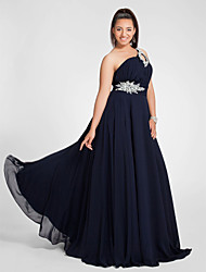 cheap -A-Line Elegant Cut Out Open Back Prom Formal Evening Dress One Shoulder Sleeveless Sweep / Brush Train Chiffon with Ruched Beading 2020