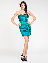 cheap -Sheath/ Column Strapless Short/ Mini Stretch Satin Bridesmaid Dress