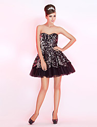 cheap -Ball Gown Sparkle & Shine Holiday Homecoming Cocktail Party Dress Strapless Sweetheart Neckline Sleeveless Short / Mini Taffeta Sequined with Sequin 2020 / Prom