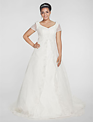 cheap -Princess A-Line Wedding Dresses V Neck Chapel Train Organza Short Sleeve with Beading Appliques 2020