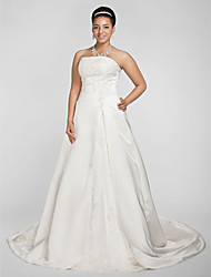cheap -Ball Gown Strapless Chapel Train Satin Strapless Sparkle & Shine Made-To-Measure Wedding Dresses with Beading / Appliques 2020