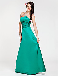 cheap -A-Line / Princess Strapless Floor Length Satin Bridesmaid Dress with Criss Cross by LAN TING BRIDE®