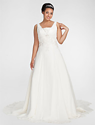 cheap -A-Line Wedding Dresses Square Neck Chapel Train Chiffon Sleeveless with Beading Draping Appliques 2020