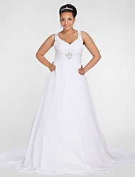 cheap -A-Line V Neck Chapel Train Chiffon Regular Straps Made-To-Measure Wedding Dresses with Beading / Draping / Ruched 2020