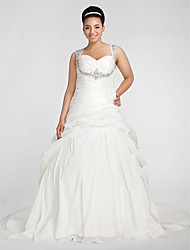 cheap -Ball Gown Wedding Dresses Sweetheart Neckline Chapel Train Taffeta Sleeveless Sparkle & Shine with Pick Up Skirt Ruched Beading 2020
