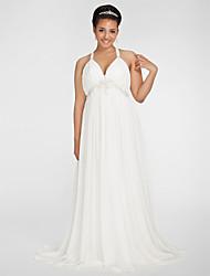 cheap -Sheath / Column Wedding Dresses V Neck Sweep / Brush Train Chiffon Sleeveless with Beading Draping Side-Draped 2021