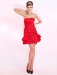 cheap -Ball Gown Holiday Homecoming Cocktail Party Dress Strapless Sleeveless Short / Mini Satin with Pick Up Skirt Bow(s) Side Draping 2020