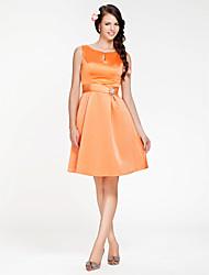 cheap -Princess / A-Line Scoop Neck Knee Length Satin Bridesmaid Dress with Sash / Ribbon / Crystal Brooch