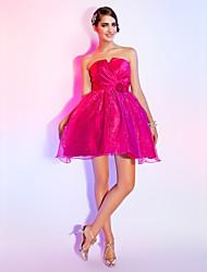 cheap -Ball Gown A-Line Homecoming Sweet 16 Dress Strapless Sleeveless Short / Mini Organza Taffeta with Criss Cross Beading Flower 2021
