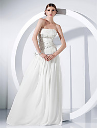 cheap -Ball Gown All Celebrity Styles Inspired by Oscar Formal Evening Military Ball Dress Strapless Sleeveless Floor Length Chiffon with Crystals Beading Draping 2020