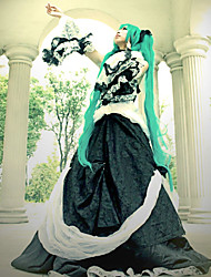 cheap -Inspired by Vocaloid Hatsune Miku Video Game Cosplay Costumes Cosplay Suits / Dresses Patchwork Long Sleeve Dress Collar Waist Accessory Costumes / Lace / Satin