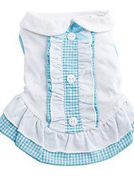 cheap -Cat Dog Dress Plaid / Check Bowknot Cosplay Wedding Dog Clothes Blue Pink Costume Cotton XS S M L