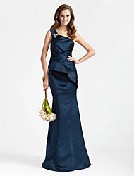 cheap -Mermaid / Trumpet One Shoulder Floor Length Satin Bridesmaid Dress with Ruffles / Crystal Brooch