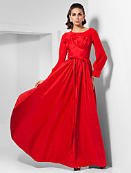 cheap -Ball Gown Elegant Formal Evening Military Ball Dress Scoop Neck Long Sleeve Floor Length Chiffon Taffeta with Sash / Ribbon Draping Side Draping 2020
