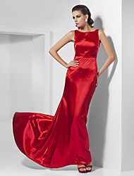 cheap -Ball Gown Elegant Celebrity Style Minimalist Prom Formal Evening Dress Bateau Neck Sleeveless Sweep / Brush Train Charmeuse with Pleats 2020