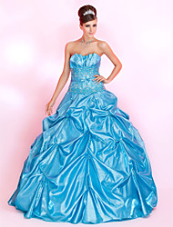 cheap -Ball Gown Vintage Inspired Quinceanera Prom Formal Evening Dress Strapless Sleeveless Floor Length Taffeta with Pick Up Skirt Sash / Ribbon Bow(s) 2021