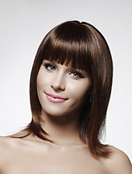 cheap -Human Hair Capless Wig Bob Short Hairstyles 2019 style Straight Wig 14 inch Women's