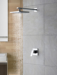 cheap -Shower Faucet Set - Rainfall Contemporary Chrome Shower Only Ceramic Valve Bath Shower Mixer Taps / 18-21 / Yes / Single Handle Two Holes