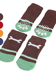 cheap -Dog Socks Casual / Daily Keep Warm Bone For Pets Cotton Random Color / Winter