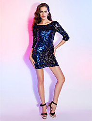cheap -Sheath / Column Open Back Holiday Homecoming Cocktail Party Dress Bateau Neck 3/4 Length Sleeve Short / Mini Sequined with Sequin 2021