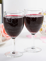 cheap -Personalized Red Wine Cup with Two Hearts Design- Set Of 2